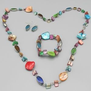 Jewelry - Boho shell and glass jewelry set
